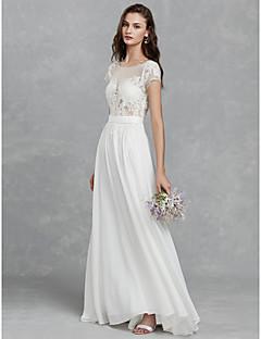 billiga Brudklänningar-A-linje Scoop Neck Svepsläp Chiffong / Spets Bröllopsklänningar tillverkade med Spets / Skärp / Band av LAN TING BRIDE® / Vacker i svart
