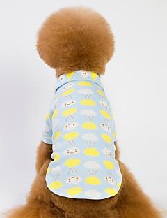 billiga Hundkläder-Hund / Katt T-shirts Hundkläder Mönstrad / Figur Blå / Rosa Cotton Kostym För husdjur Herr Sport och utomhus / Uppvärmning