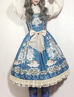 billiga Lolitamode-Söt Lolita Vintage Elegant Chiffong Spets Dam Klänningar Cosplay Purpur / Blå / Bläck blå Ärmlös Ärmlös Midi Kostymer