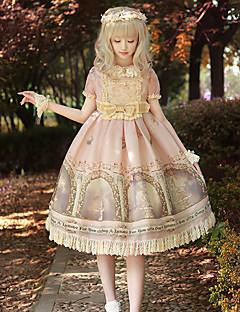 billiga Lolitamode-Söt Lolita Vintage Klassisk Lolita Chiffong Dam Klänningar Cosplay Rosa Puffärm Kortärmad Midi Kostymer