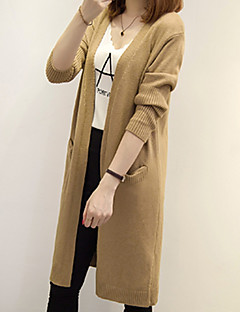 cheap Women's Sweaters-Women's Daily Basic Solid Colored Long Sleeve Long Cardigan, V Neck Fall Beige / Light Brown / Khaki M / L / XL
