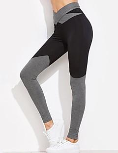 billiga Träning-, jogging- och yogakläder-Dam Rosett Yoga byxor - Svart, Grå sporter Färgblock Leggings Löpning, Fitness, Träna Sportkläder Andningsfunktion, Mjuk, Butt Lift Hög Elasisitet Skinny, Smal