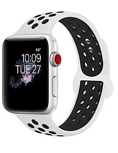 billige Ur Tilbehør-silica Gel Urrem Strap for Apple Watch Series 3 / 2 / 1 Sort / Hvid 23cm / 9 tommer 2.1cm / 0.83 Tommer