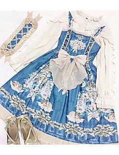 billiga Lolitamode-Klassisk / Traditionell Lolita Söt Lolita Chiffong Dam Cosplay Vit / Blå / Bläck blå Ärmlös Ärmlös Halloweenkostymer