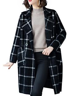 baratos Suéteres de Mulher-Mulheres Diário Xadrez Manga Longa Longo Carregam Preto / Laranja / Roxo Tamanho Único