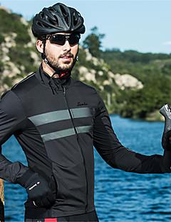 billige Sykkeljakker-SANTIC Herre Sykkeljakke Sykkel Vindjakker Pustende, Hold Varm Ensfarget Svart Sykkelklær / Elastisk
