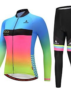 billige Sykkelklær-kvinners sykkeljersey med strømpebukse / sykkeljakke med bukser - blå + gul / lysende sykkelreflekterende striper