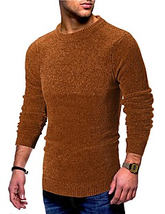baratos Suéteres & Cardigans Masculinos-pullover de manga comprida masculina - gola redonda de cor sólida