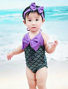 billige Halloweenkostymer-The Little Mermaid Jente Barne Ett Stykke Bikini Barnas Dag Festival / høytid Halloween-kostymer Drakter Grønn Paljetter Sløyfeknute Havfrue