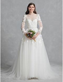 billiga A-linjeformade brudklänningar-Balklänning Bateau Neck Kapellsläp Spets / Tyll Bröllopsklänningar tillverkade med Applikationsbroderi / Spets av LAN TING BRIDE®
