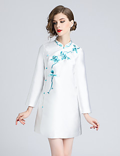 billige Kjoler til nyttårsaften-Dame Vintage / Chinoiserie A-linje Kjole - Blomstret, Broderi Mini