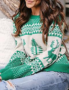 tanie Swetry damskie-Damskie Święta / Casual / Weekend Święta Geometric Shape / Kwiatowy wzór Długi rękaw Regularny Pulower Czerwony / Granatowy / Szary M / L / XL