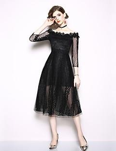 billige AW 18 Trends-Dame A-linje Kjole - Ensfarget, Blonde Midi