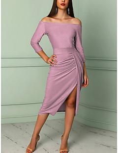 billige AW 18 Trends-Dame Elegant Tynd Bodycon Kjole - Ensfarvet, Delt Midi Skulderfri