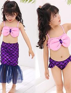 billige Barnekostymer-The Little Mermaid Jente Barne Havfrue og Trompet Kjole Slip Bikini Halloween Barnas Dag Festival / høytid Drakter Lilla Paljetter