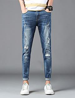 billige Herrebukser og -shorts-Herre Aktiv / Grunnleggende Jeans / Chinos Bukser Ensfarget / Fargeblokk
