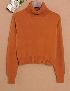 tanie Swetry damskie-Damskie Codzienny Solidne kolory Długi rękaw Krótkie Pulower Czarny / Beżowy / Żółty M / L / XL
