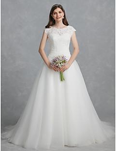 billiga Brudklänningar-Balklänning Scoop Neck Hovsläp Spets / Tyll Bröllopsklänningar tillverkade med Bård / Spets av LAN TING BRIDE®