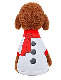 billiga Hundkläder-Hund / Katt Väst Hundkläder Enfärgad Vit / Röd Tyg Kostym För husdjur Unisex Fest / afton / Söt Stil