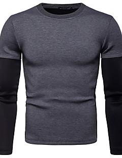 baratos Abrigos e Moletons Masculinos-camisola de manga comprida masculina - bloco de cor em volta do pescoço