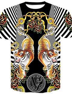 お買い得  パンク&ゴシック-男性用 クラブ - プリント プラスサイズ Tシャツ ストリートファッション / パンク&ゴシック ラウンドネック フラワー / カラーブロック / 動物 タイガー / 半袖