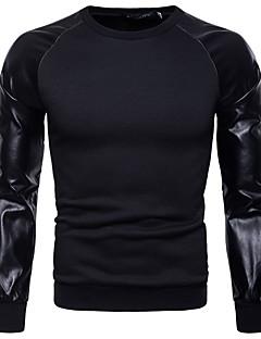 baratos Abrigos e Moletons Masculinos-camisola de algodão manga comprida masculina - bloco de cor em volta do pescoço