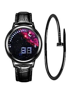 billige Læder-Herre Sportsur Digital 30 m Kreativ Nyt Design LCD Læder Bånd Digital Mode Minimalistisk Sort - Blå Sort / Blå Sølv / Rød Et år Batteri Levetid