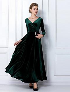 baratos Escolha do Cliente-Mulheres Tamanhos Grandes Para Noite Bainha Vestido Sólido Decote V Cintura Alta Altura dos Joelhos / Solto