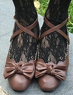 billiga Lolitamode-Söt Lolita Prinsess Lolita Block Heel Skor Ensfärgat 3-5 cm CM Brun / Rosa / Röd Till PU läder Halloweenkostymer