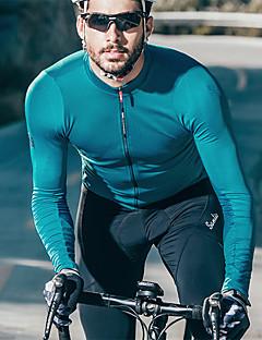 billige Sykkelklær-SANTIC Herre Langermet Sykkeljersey - Blå Grå Vinrød Ensfarget Sykkel Jersey Terylene / Mikroelastisk