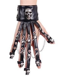 billiga Lolitamode-Djävul Handskar Nit Gothic Style Steampunk Skelett Svart Mode Dödskalle Handskar Konstläder Legering Halloweenkostymer