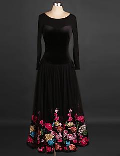 tanie Stroje balowe-Taniec balowy Sukienki Damskie Szkolenie / Spektakl Plusz Haft Długi rękaw Wysoki Sukienka