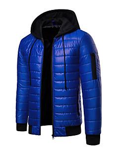 ราคาถูก Downs & Parkasของผู้ชาย-สำหรับผู้ชาย ทุกวัน Street Chic ลายบล็อคสี ปกติ Padded, เส้นใยสังเคราะห์ แขนยาว ฤดูหนาว ฮู้ด ส้ม / ทับทิม / สีน้ำเงินกรมท่า XL / XXL / XXXL