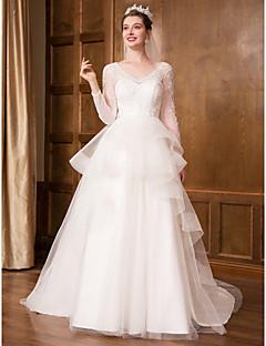 billiga Brudklänningar-Prinsessa V-hals Hovsläp Spets / Tyll Bröllopsklänningar tillverkade med Spets / Krusad av LAN TING Express