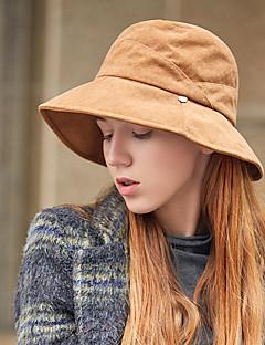 billige Hatter til damer-Dame Vintage / Ferie Bowlerhatter / Bøttehatt / Solhatt Ensfarget