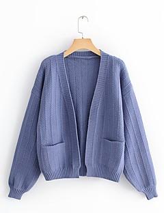 baratos Suéteres de Mulher-cardigan solto de manga comprida para mulher - colorido sólido