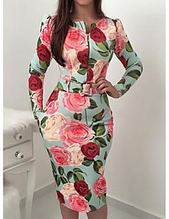 billige AW 18 Trends-Dame Fest / I-byen-tøj Elegant Tynd Bodycon Kjole - Blomstret, Trykt mønster Knælang Rose / Ferie