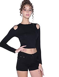 baratos Suéteres de Mulher-Mulheres Diário Sólido Manga Longa Skinny Padrão Pulôver Preto / Bege M / L / XL