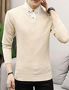 baratos Suéteres & Cardigans Masculinos-pullover de manga longa masculina - colorido sólido
