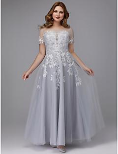 billige Kjoler i plusstørrelse-A-linje Besmykket Gulvlang Tyll Formell kveld Kjole med Appliqué av TS Couture® / Skoleball