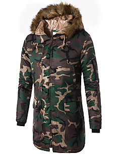 cheap Men's Downs & Parkas-Men's Daily / Weekend Military Camouflage Long Padded, Cotton / Polyester Long Sleeve Winter Hooded Army Green / Blue XXXL / 4XL / XXXXXL