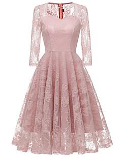baratos Vestidos de Festa-Mulheres Básico Evasê Vestido - Renda, Sólido Altura dos Joelhos