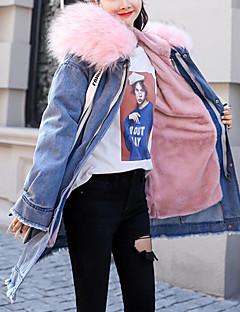 Χαμηλού Κόστους Γυναικεία σπορ σακάκια και μπουφάν-Γυναικεία Jachete Denim Κομψό στυλ street / Πανκ & Γκόθικ - Μονόχρωμο / Γράμμα, Blană Curată