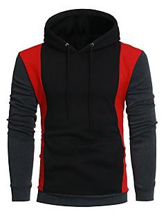 baratos Abrigos e Moletons Masculinos-hoodie de algodão de manga comprida masculina - bloco de cor com capuz