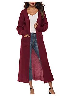 baratos Suéteres de Mulher-Mulheres Diário Básico Sólido Manga Longa Longo Carregam, Decote U Vinho / Verde Tropa / Khaki L / XL / XXL