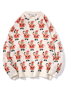baratos Suéteres & Cardigans Masculinos-Homens Natal / Diário Moda de Rua Geométrica Manga Longa Padrão Pulôver, Decote Redondo Branco / Preto M / L / XL