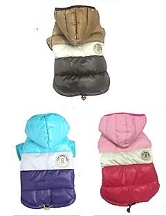 billiga Hundkläder-Hund / Katt Dunjackor Hundkläder Färgblock Kaffe / Blå / Rosa Ner / Cotton Kostym För husdjur Herr / Dam Klassisk / Färgblock