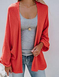tanie Swetry damskie-luźny sweter z długimi rękawami i bawełny z długimi rękawami - jednolity kolor