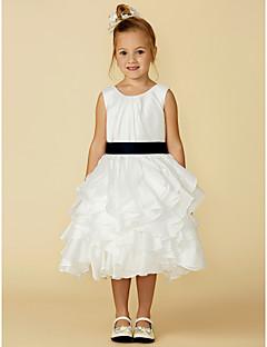 Χαμηλού Κόστους most popular-Γραμμή Α Μέχρι το γόνατο Φόρεμα για Κοριτσάκι Λουλουδιών - Σατέν / Ταφτάς Αμάνικο Με Κόσμημα με Φιόγκος(οι) / Ζώνη / Κορδέλα με LAN TING BRIDE®