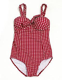 billige Bikinier og damemote 2017-Dame Grunnleggende Med stropper Rød forms Cheeky En del Badetøy - Ensfarget / Geometrisk Åpen rygg / Trykt mønster M L XL / Sexy